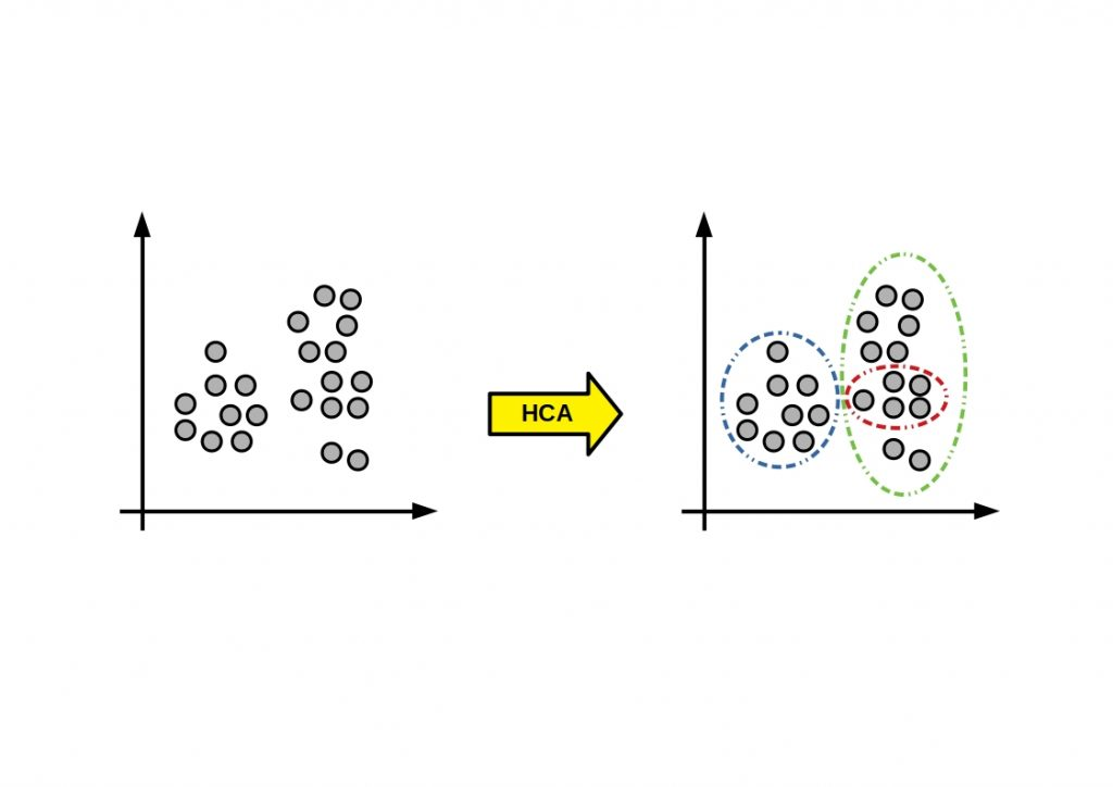 Schematic and simplified representation of the HCA clustering  principle.